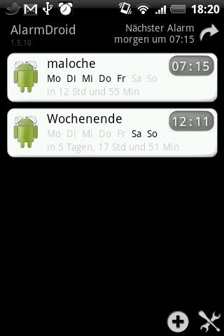AlarmDroid Hauptmenü mit Weckzeiten