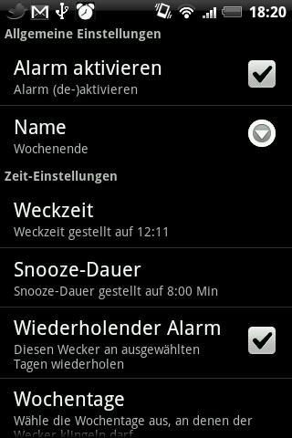 AlarmDroid Weckermenü