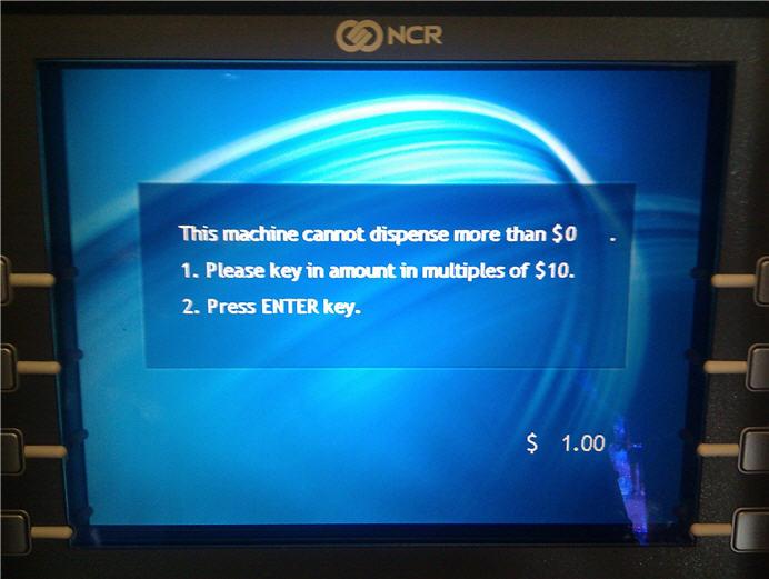 Fehlermeldung Geldautomat