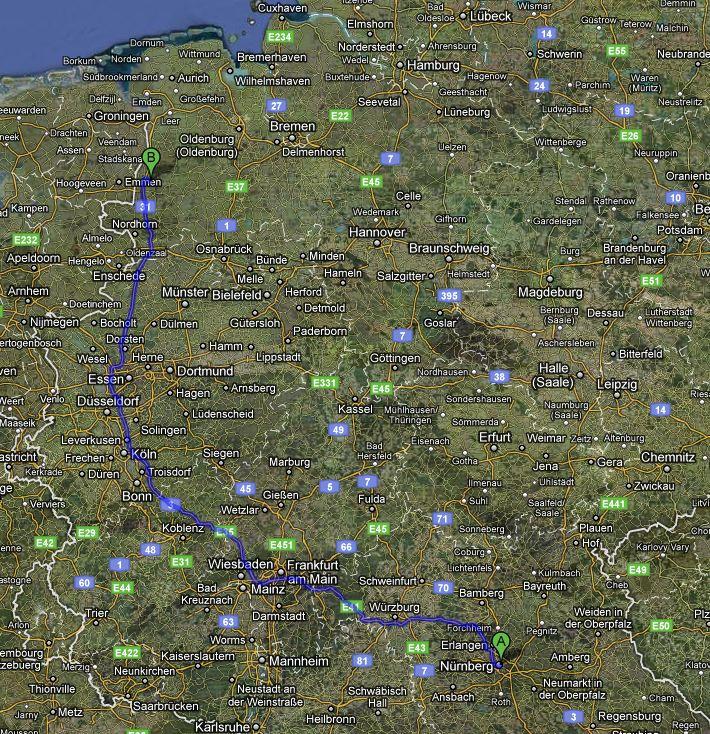 meine strecke Nürnberg nach Haren